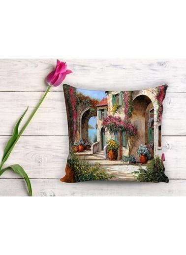 Real Homes Çiçek Sokağı Dijital Baskılı Dekoratif Yastık Kırlent Kılıfı Renkli